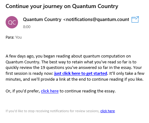 Email recordatorio Quantum Computing for the very curious